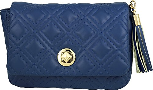 B BRENTANO Vegan Quilted Flap-Over Crossbody Bag with Chain Strap and Tassel Accent (Royal - Flap Cross Over Bag Body