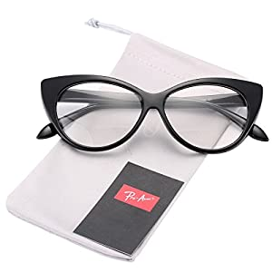 Pro Acme Vintage Inspired Fashion Mod Chic High Pointed Clear Lens Cat Eye Glasses (Black)