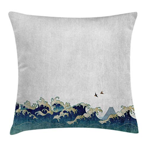 Ambesonne Japanese Wave Throw Pillow Cushion Cover, Aquatic
