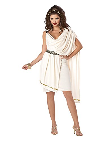 (California Costumes Women's Deluxe Classic Toga Tunic, Cream, Large)