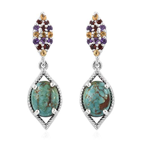 925 Sterling Silver Platinum Plated Turquoise Garnet Silver ()