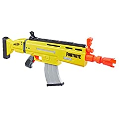 """""""The Nerf Fortnite are-l blaster is inspired by the blaster used in Fortnite, replicating the look and colors of the one from the popular video game! Play Fortnite in real life with this Nerf Elite blaster that features motorized dart blastin..."""