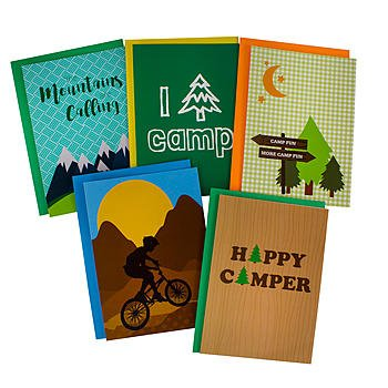 5 Cards Pack Greeting (Summer Camp Greeting Cards for Boys - 5 Different Camp Themed Cards and Envelopes - 5 x 7 Inches)