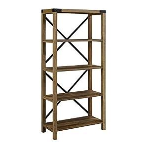 """Pemberly Row 64"""" Metal X Bookcase in Rustic Oak"""