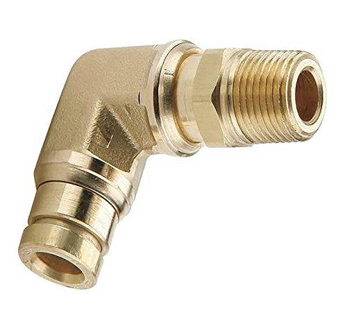 Parker Hannifin 169PMT-4-4 Brass Male Elbow 90 Degree Prestomatic Fitting, 1/4