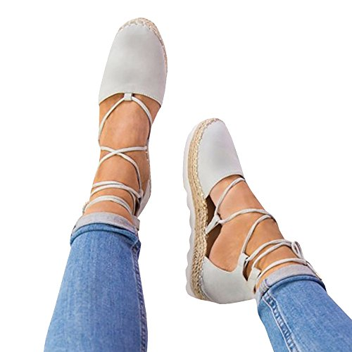 Rainlin Women's Lace up Espadrille Platform Sandals Cut Out Ankle Wrap Flat Shoes Size 8 (Sexy Espadrille)