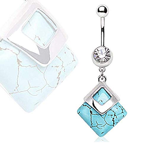 Freedom Fashion 316L Surgical Steel Navel Ring with Square Turquoise Dangle (Sold by ()