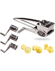 LOVKITCHEN Vegetable Cheese Grater with 3 Interchanging Rotary Ultra Sharp Cylinders Stainless Steel Drums and Slicer
