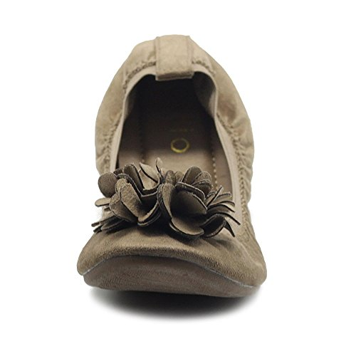 Ballet Flower Faux Shoes Ollio Slip Suede Flat Beige Womens Decorative Comfort On Light x4axwqAv