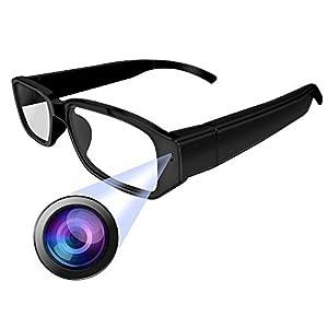 KKmoon Hidden Camera Glasses1080P Spy Camera DV Eyewear Camcorder Smart Eyeglasses Video Audio Recorder Optical Eyeglass Windproof Digital Cam Wireless Hunting Outdoor Sport Glass