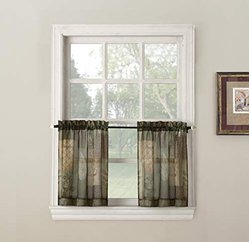 - No. 918 Eden Inspirational Kitchen Curtain Tier Pair, 56