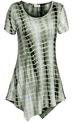 KorMei - Camiseta - Túnica - Efecto teñido - Cuello redondo - Manga corta - para mujer Tie Dye Green#4