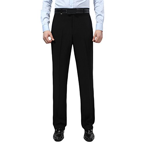 Front Silk Flat Pants (Men's Slim Fit Flat Front Trousers Wrinkle-Free Dress Pants 855#Black XL)