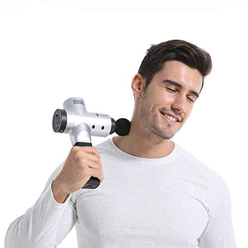 MJ-Sports Noiseless Massager 16V Body Relax Muscle Massager Handheld Tissue Massager Gun, Cordless Muscle Stimulation Vibration Device, Pain Relief Percussive ()