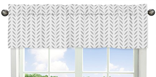 Sweet Jojo Designs Leaf Print Window Valance for Girls or Boys Grey Gold and White Forest Deer and Dandelion Collection Bedding Sets