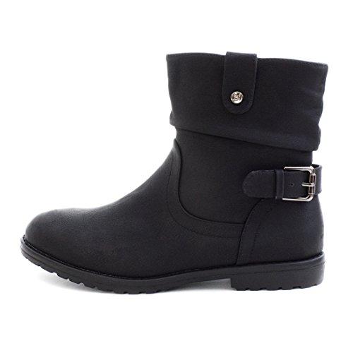 Damen Worker Boots Outdoor Stiefeletten mit Reißverschluss Schwarz Glattlederoptik