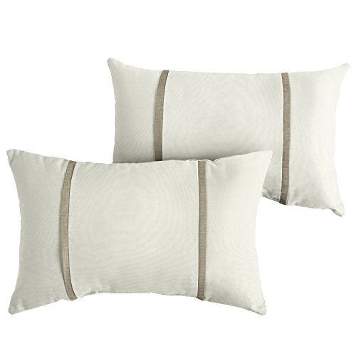 Mozaic AMPS114651 Double Small Flange Indoor/Outdoor Rectangle Pillows (Set of 2), 12x18, Sunbrella Natural/Canvas ()