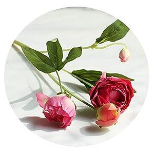 Zalin Silk Wedding Flower Bridesmaid Tea Rose Peony Artificial Flowers Home Decor Fake Flower,Rose red 115