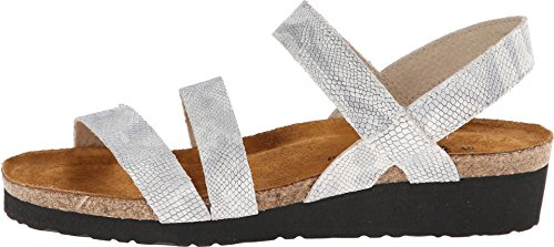 NAOT Women's Kayla Wedge Sandal Silver Snake Leather free shipping Manchester pre order cheap online outlet footaction clearance sast EcluqPiBt
