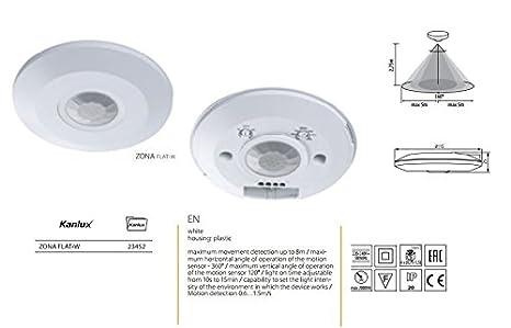 Sensor de movimiento PIR IP20 360 ° Kanlux zona flat-w Mod. 23452: Amazon.es: Iluminación