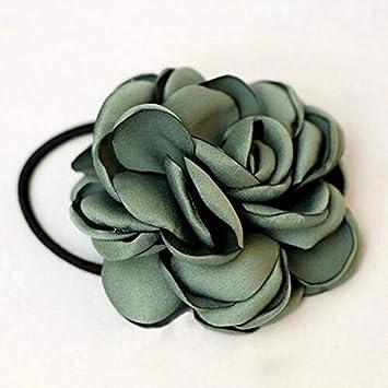 Fabric Elastic Hair Bands Rope Ties Girls Hair Accessories Flower Floral Black