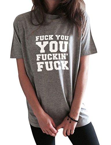 ZXH Women Fashion Fuck You You Fucking Letter Print Casual Short Sleeve T-Shirt