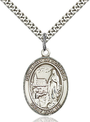 bliss Sterling Silver Our Lady of Lourdes Medal Pendant, 1 Inch