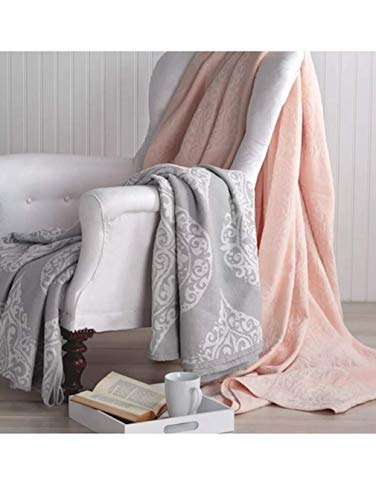 Peri Home Woven Damask Throw Blanket, 102x118, Grey