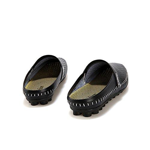 SUNROLAN Herren Sommer Breathable Leder Slip On Open Zurück Slipper Loafer Mules Style Wohnungen Schuhe Schwarz