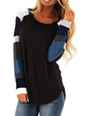 Women's Color Block Long Sleeve Casual Shirt Lightweight Tunic Sweatshirt Tops