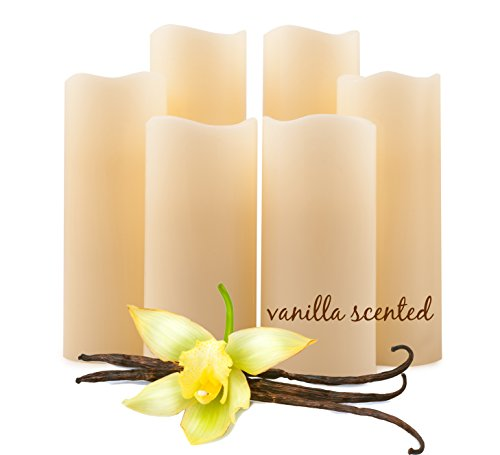 Vanilla Scented Flickering Flameless Candles by FVM - LED Remote Timer Pillar Bulk Set Ivory Real Wax for Home Decoration - Safe for Kids and Pets