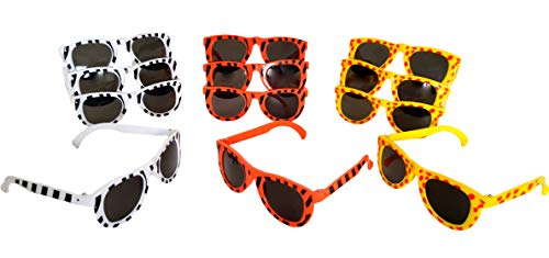 (Dondor Party Glasses - 80's Shutter Glasses, 80's Neon Dark Lens Glasses, Kids Animal Print Glasses, for Adults & Children (24 Pack, Kids Animal Print))