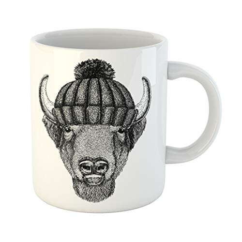 (Semtomn Funny Coffee Mug Buffalo Bison Ox Bull Cool Animal Wearing Knitted Winter Hat 11 Oz Ceramic Coffee Mugs Tea Cup Best Gift Or Souvenir)