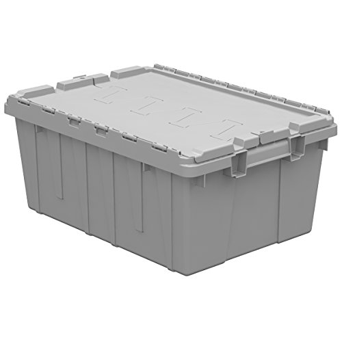 Buckhorn AC2115090201000 Industrial Grade Plastic Attached Lid Flip TOP 8 gallon Container Tote - 21