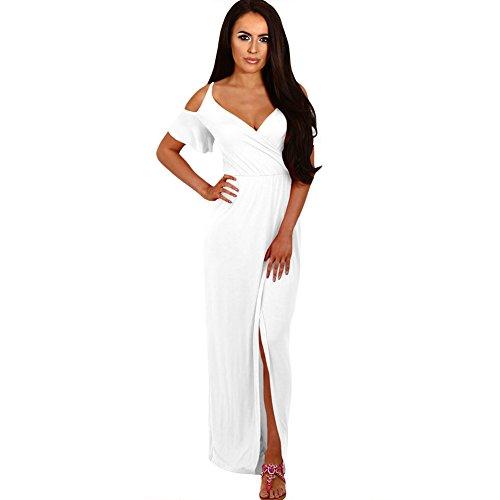 Abra de vestido White Prom MEI Maxi elegante mujer fiesta amp;S hombro la Larga Noche vestido de aTTH05qx