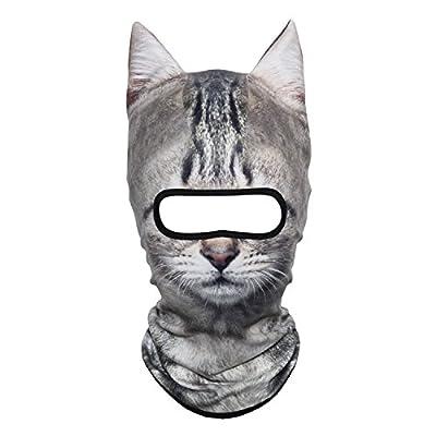 JIUSY 3D Animal Ears Fleece Thermal Hood Balaclava Neck Warmer Face Mask