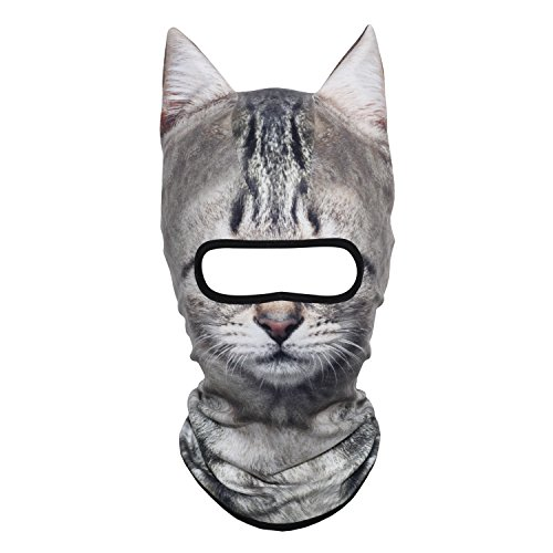 AXBXCX 3D Animal Ears Fleece Thermal Neck Warmer Windproof Hood Cover Face Mask Protection for Ski Snowboard Snowmobile Halloween Winter Cold Wea American Shorthair Silver Tabby MDD-21