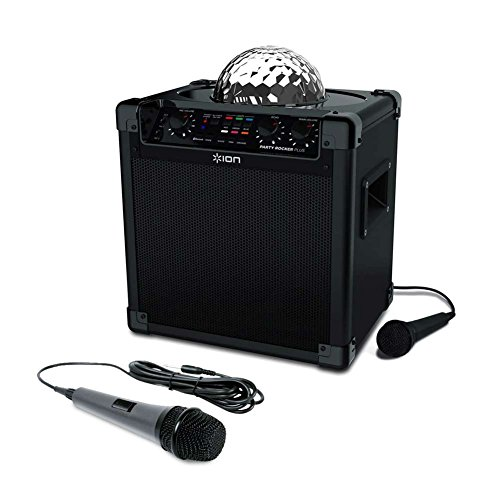 ION Audio Party Rocker Plus | Rechargeable Speaker with Spinning Party Lights & Karaoke Effects with Dynamic Microphone with 10 Ft. Cord