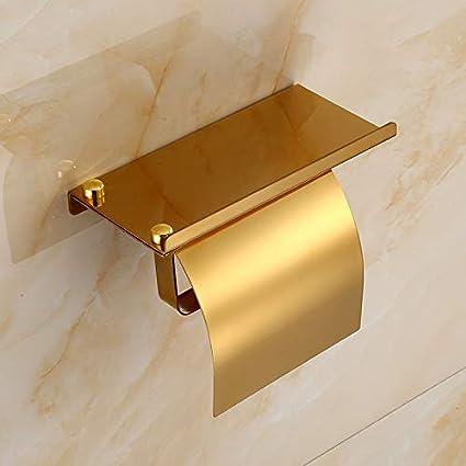Toilettes Dor/é Salle De Bains Porte-Serviettes en Papier ROTOOY Porte-Papier Toilette Porte-Serviettes en Acier Inoxydable