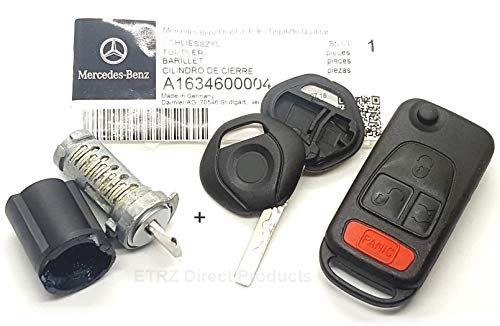 Lock Ignition Benz Mercedes - Genuine Mercedes Benz Ignition Lock & Tumbler Cylinder Replacement Part with 1-Key Shell & 1-Flip Remote Key Case. For Model: ML 1997-03. OEM# 1634600004.