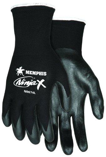 Memphis Glove N9674M Ninja X Nylon/Spandex Shell Gloves with Bi-Polymer Dipped Palm and Fingertips, Black, Medium, (Bi Polymer Gloves)