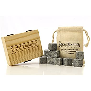 Elegant Whiskey Stone Set in Pine Wood Gift Case -Natural Soapstone- Lifetime guarantee (9 Piece set)