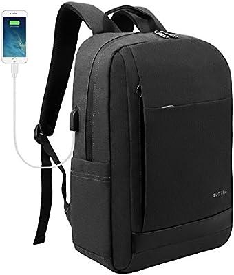 d92a19ca7e Slotra Sac à dos pour ordinateur portable étanche Business Sac à dos avec  port de chargement USB 39,6 cm Sac d'ordinateur portable fin et léger de  voyage ...