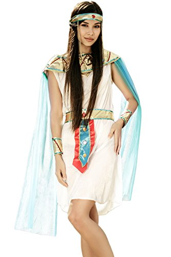 Egyption Costume Makeup (Adult Women Hatshepsut Halloween Costume Egyptian Princess Dress Up & Role Play (Small/Medium))