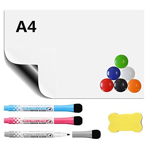 Aibecy Soft Magnetic Dry Erase Whiteboard Sheet For Kitchen Fridge with Stain Resistant Technology Includes 6 Markers and Big Eraser with Magnetic Refrigerator Stickers A4 by Aibecy