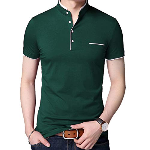BITLIVE Men's Casual Slim Fit Short Sleeve Polo T-Shirts Cotton Shirts with Fake Pocket (Medium, Dark-Green) (Cotton Turtleneck Shirt)