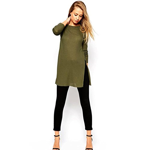 XUANOU Women Loose Long Style Knitting Pullover Tops Shirt Blouse (Small) (Women Army Uniforms)