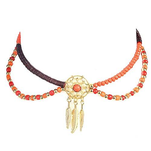 VEINTI+1 Bohemia Style Dream Catcher Design Women/Girl's Choker Necklace Set (Orange)