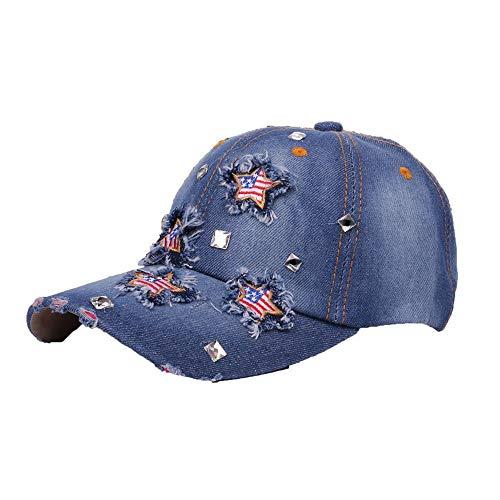 VEFSU Women Men Adjustable Bling Flag Rhinestone Denim Baseball Cap Casual Hat