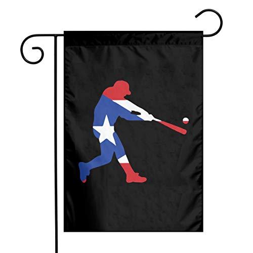 Puerto Rico Flag Baseballer-1 Fashion Outdoor/Indoor Demonstration Flag Present Garden Flag 12